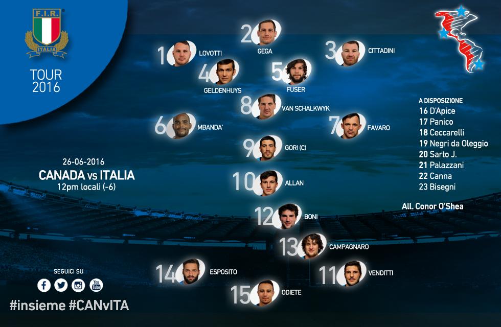 Formazione test match 2016 Italia Canada